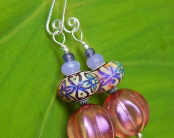 Rose of Many Color Earrings - Color-Changing Mood Beads, Beautiful Czech Glass & Artisan-Made Sterling Silver Ear Wires