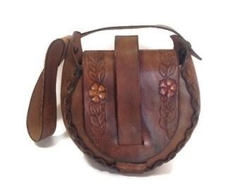 Vintage Saddle Bag, Tooled leather purse, handbag