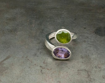 Amethyst & Peridot Ring, Sterling Silver Dual Birthday Gemstone Statement Ring, Twist Ring, Cocktail Ring, Size 7.5, Unique Gift For Her