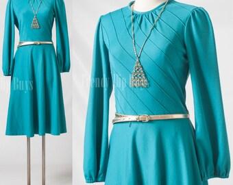 Vintage dress, VIntage Teal dress, vintage Green dress, 70s secretary dress, Aline dress - M/L