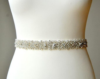 "18-36"" Stunning Crystal Bridal Sash,Wedding Dress Sash Belt, Rhinestone Sash, Rhinestone Bridal Bridesmaid Sash Belt, -AURORA"