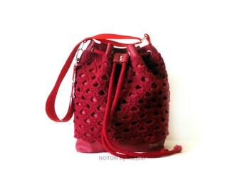 Red Crochet Bucket Bag, Bucket Bag Purse, Vegan Bag