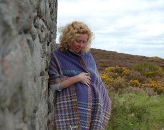 Weaving, shawl, hand woven shawl, wool shawl, alpaca shawl, heather shawl, handwoven, Scottish, gifts for women, purple, blue shawl.