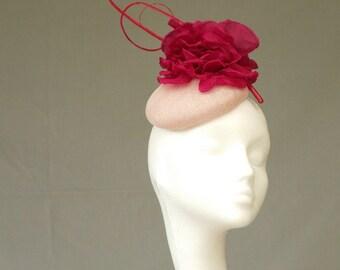 Pale pink fascinator headpiece