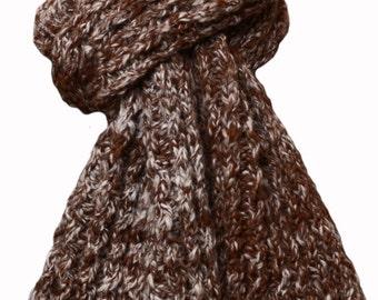 Hand Knit Scarf - Brown White Dry Creek Alpaca Cable Rib