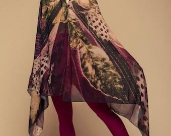 oversized scarf, nature shawl, Evening wrap, Feather shawl, Purple, Designer shawl, elegant shawl, chiffon shawl, wearable art, gift for her