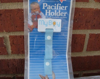 Vintage NEW Baby Boy Blue Pacier Holder