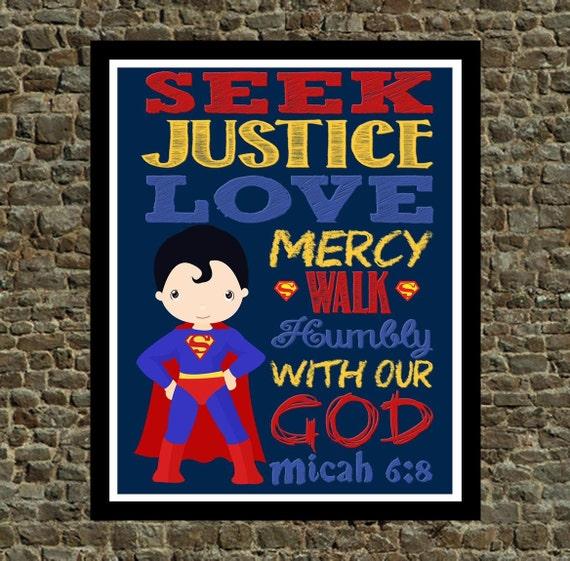 Super Hero Wall Art Christian Print Superman By Pixiepaperstl