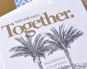 Palm Springs Skyline Save the Date Cards- Mountains & PalmTrees (set of 25 cards)