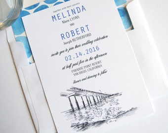 Ocean Beach, San Diego Beach Wedding Invitations Package (Sold in Sets of 10 Invitations, RSVP Cards + Envelopes)