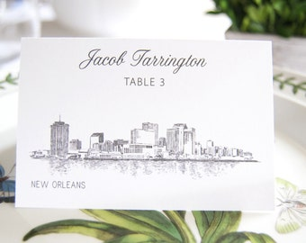 New Orleans Skyline Folded Place Cards (Set of 25 Cards)
