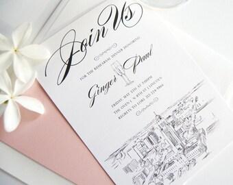 Lincoln, Nebraska Skyline Weddings Rehearsal Dinner Invitations (set of 25 cards)