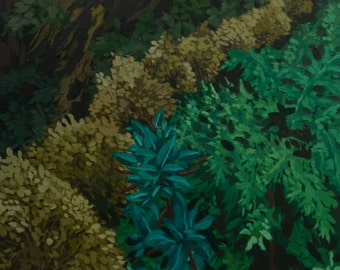 Blue Green Yellow Gold Brown Forest Moss Leaves Tree Landscape Original Oil Painting Print