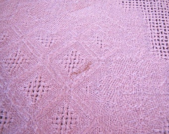 Pink Linen Tablecloth w Complex Weaving