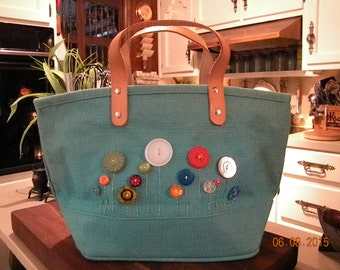 Burlap Dyed Handbag with VINTAGE buttons and hand embroidery