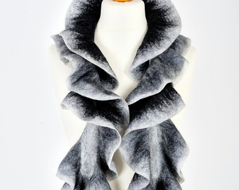 nuno felted scarf | merino wool scarf boa | evening scarf | ruffle felt scarf ascot | Mothers day gift for her | birthday gift | black white