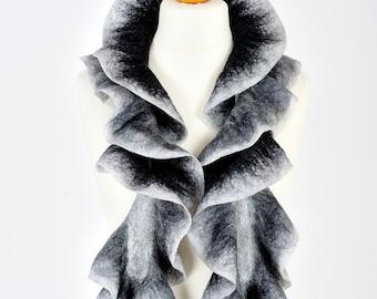 nuno felted scarf | merino wool scarf boa | Christmas gift for her | evening scarf | ruffle felt scarf ascot | birthday gift | black white