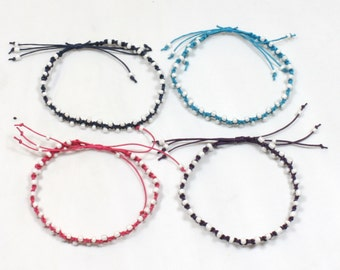 Handmade  Cotton Macrame and Seed Bead Adjustable Anklet