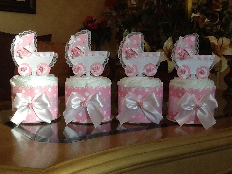 Mini diaper cake set of 4 baby girl carriage centerpiece pink for Pink diaper bouquet