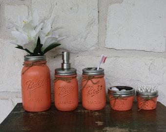 Hand Painted Mason Jar Set - Coral