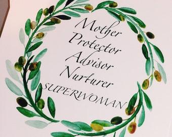 Superwoman Art Print   Mother Art   Inspirational Art   Mother's Day   Olive Wreath Art Print   Home decor   Gift   8x10   11x14   13x19