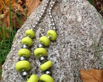 Kermit's Wisdom - Frog Green & Dark Pearl Statement Necklace