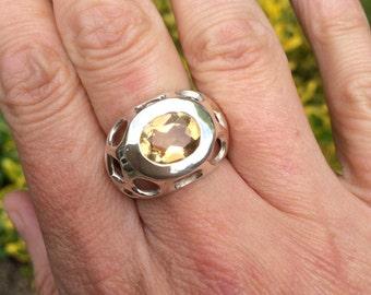 Large Sterling Silver Citrine ring chunky Yellow gemstone ring statement Citrine Jewelry November Birthstone gift UK size O.5 US size 7.5