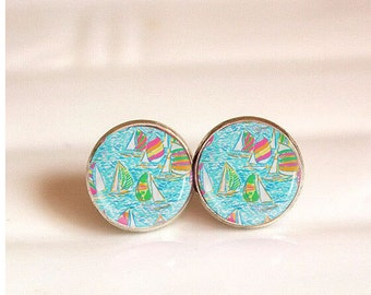 Lilly Pulitzer Stud Earrings,Sailing Lilly Earring,Personalzied Lilly Monogram Earring,Post Earring Gift,Glass Earring Studs,Gift for Mom