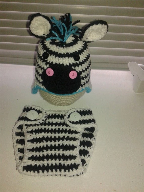 Crochet Pattern Zebra Hat : Crochet Zebra Hat and Diaper Cover Set by CrochetBOSS14 on ...