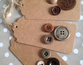 Button brown card/kraft gift tags - individual or four pack - Free UK Shipping