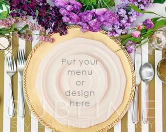 Styled Stock Photography / Plates / Mock up / Menu  / Wedding Menu / Place Setting / Table Stetting / JPEG Digital Image / StockStyle-489