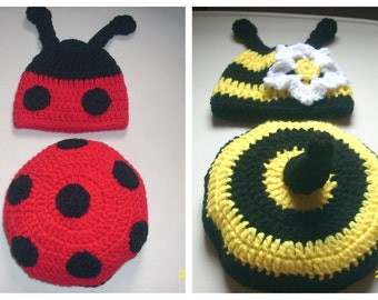 Crochet Lady Bug and Bumble Bee Baby Photo Props