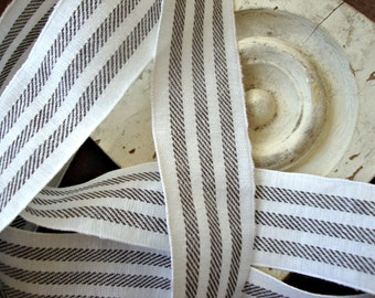 Rustic Ivory and Black Ticking Stripe Cotton Ribbon