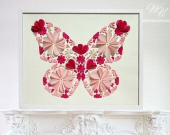 Butterfly Guest Book Ideas - Wedding Guest Book Alternative - Ivory - Light Pink - Fuchsia