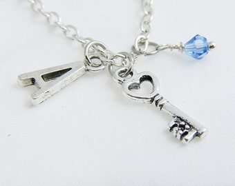 Personalized Key Necklace, Silver Key Charm Necklace, Customized Monogram Initial A-Z Charm Necklace