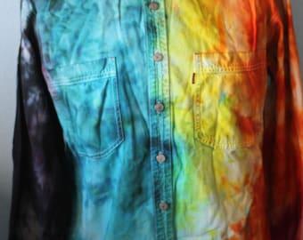 Vtg. 1990's Levi  Denim Tye Dye Hippie Button Up Shirt