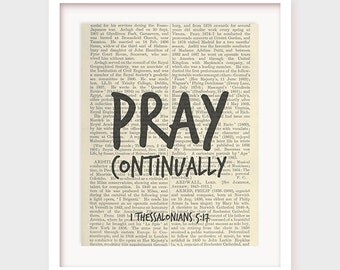Scripture Printable, Pray Continually, 1 Thessalonians 5:17, Christian Scripture Art, Bible Verse Print, Instant Download