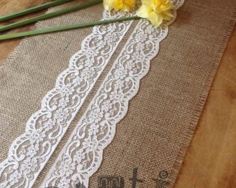 22ft Pretty Handmade Hessian and Lace Table Runner