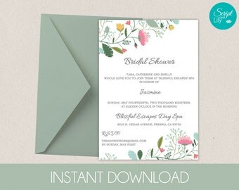 EDITABLE Bridal Shower Template | DiY | INSTANT DOWNLOAD | Edit Text | Enchanted Flowers | Pinks / Greens | Print at Home |  5x7 inches