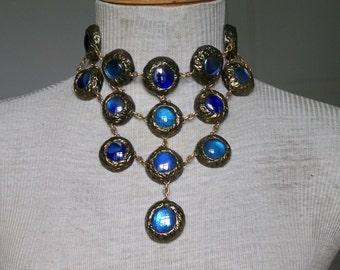 Bib necklace 3-tone blue and finish gold with black velvet ribbon. OOAK