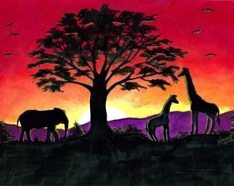 African Sunset Print