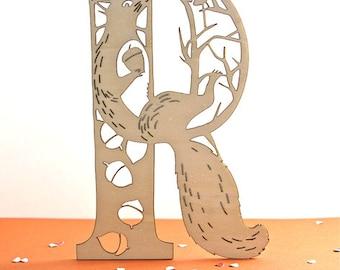 wooden decorative letter R - laser cut squirrel - alphabet