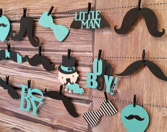 Boy Oh Boy Mustache Garland, Boy Oh Boy Shower Decor, Mustache Theme Shower Decor, Mustache Die Cut Shower Decor, Die-Cut Garland