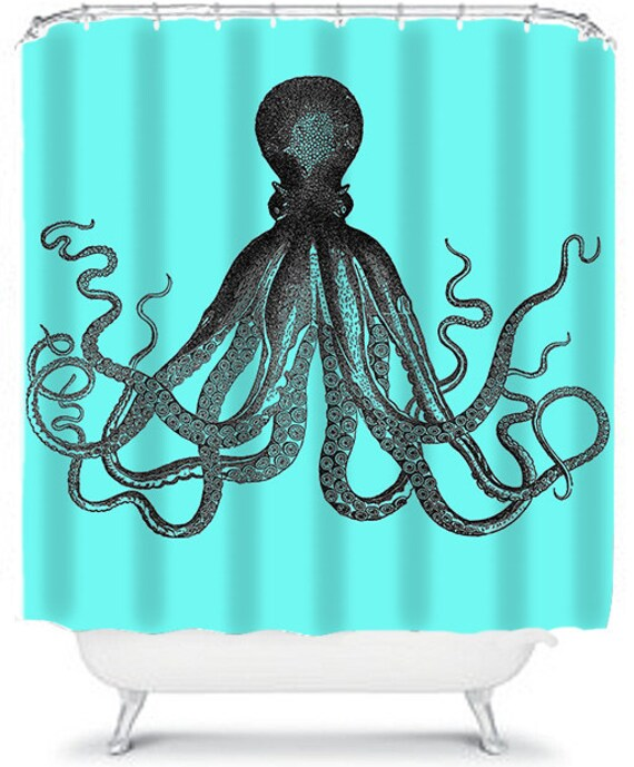 Blue shower curtain nautical octopus bathroom shower curtain home