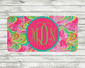 Lily Pulitzer Inspired Monogram License Plate