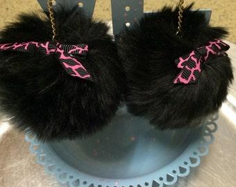 Black Pom Pom Dangle Earrings