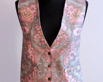 Pink Grey Womens Vest Tapestry Waistcoat Formal Baroque Renaissance Art Decorated Medium Size Steampunk vest