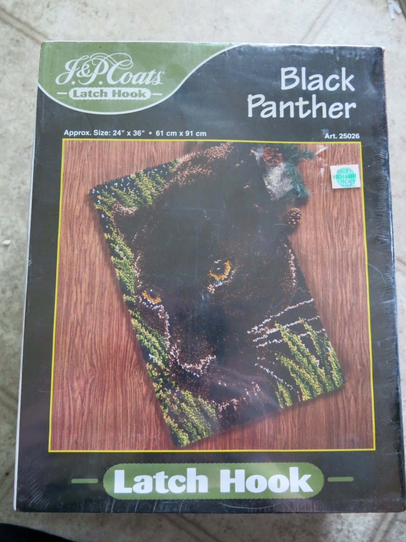 J Amp P Coats Black Panther Latch Hook Kit