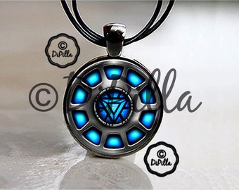 Iron Man Inspired Arc Reactor Glass Photo Pendant with Leather Cord