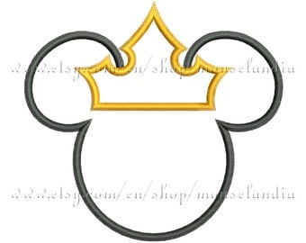 Cute mouse king head Applique Design  3 sizes 4X4, 5X7 and 6X10 Instant Download